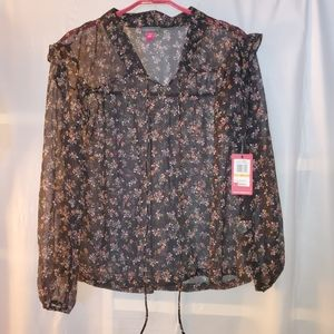Vince Camuto Sheer Floral Blouse Size S